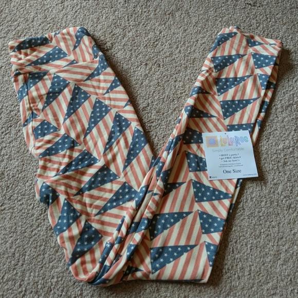 d509ecbda15e34 LuLaRoe Pants   New American Flag Americana Leggings Os   Poshmark